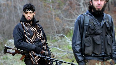 Turkmenische Kämpfer im Hinterland von Latakia in Syrien am 5. Februar 2013