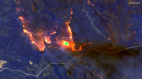 Satellitenaufnahme eines Feuers in Victoria im Januar 2020