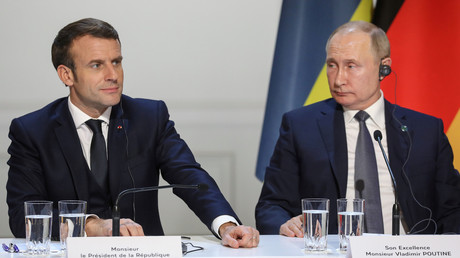 Frankreichs Präsident Emmanuel Macron und sein russischer Amtskollege Wladimir Putin während des Ukraine-Gipfels in Paris (9. Dezember 2019)
