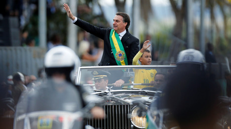 Jair Bolsonaro während einer Parade zum brasilianischen Unabhängigkeitstag. (Brasília, 7. September 2019)