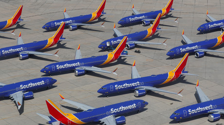 Müssen am Boden bleiben: Boeing-737-MAX-8-Flugzeuge der Southwest Airlines am 26. März 2019 auf dem Flughafen Victorville in Victorville, Kalifornien, USA