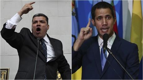 Luis Parra (l.) wurde von der venezolanischen Nationalversammlung am 5. Januar 2020 zum Nachfolger von Juan Guaidó (r.) als deren Präsident gewählt. Guaidó ließ sich parallel in einer separaten Sitzung von seinen Anhängern im Amt als Parlamentspräsident und
