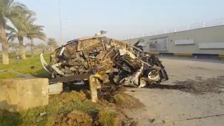 In diesem beschädigten Auto soll Soleimani gesessen haben.