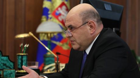 Mischustin im Mai 2019 bei einem Gespräch mit Präsident Putin