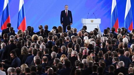 Der russische Präsident Wladimir Putin vor dem Beginn seiner jährlichen Ansprache an die Föderale Versammlung am 15. Januar 2020 in Moskau.