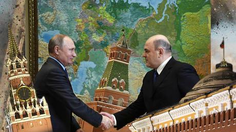 Der russische Präsident Wladimir Putin beim Handschlag mit Michail Mischustin, dem neuen Premierminister Russlands.