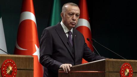 Der türkische Präsident Erdoğan bei einer Nachrichtenkonfernz in Ankara, Türkei, 13. Januar 2020.