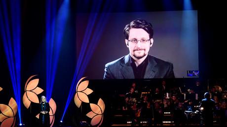 Whistleblower Edward Snowden per Videoschaltung bei der Verleihung des Right-Livelihood-Awards, Cirkus, Stockholm, Schweden, 4. Dezember 2019