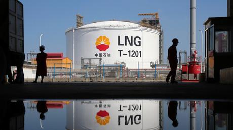 LNG-Tank am Empfangsterminal im Hafen Rudong von Nantong in China (Bild vom 04.09.2018)