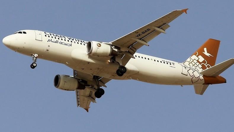 Israelische Kampfflugzeuge fliegen Luftangriff auf Syrien in Deckung eines Passagierflugzeuges