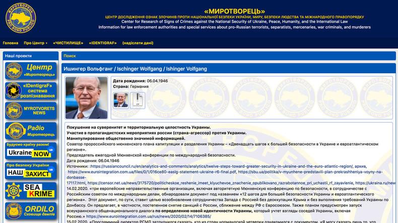 """Neuester Eintrag in der ukrainischen Abschussliste Mirotworez: """"Russlandfreund"""" Wolfgang Ischinger"""