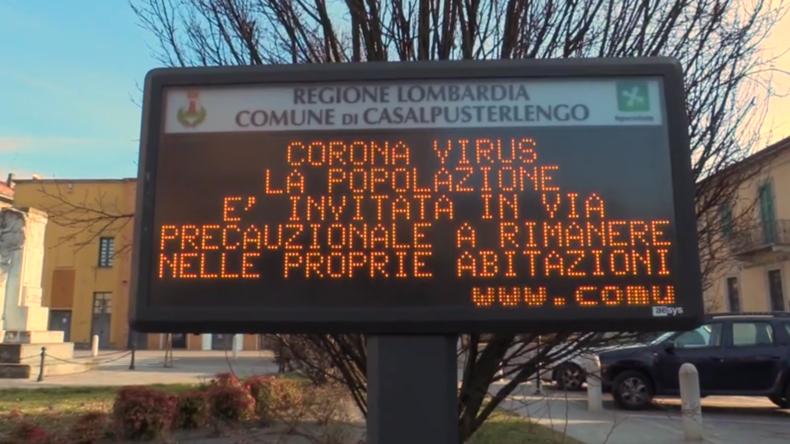 Italien:Stadt nach neuen bestätigten Fällen von Coronavirus unter Quarantäne