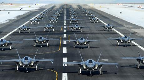 F-35A-Kampflugzeuge der US Air Force  während einer Übung auf der Hill Air Force Base, Utah, 6. Januar 2020.