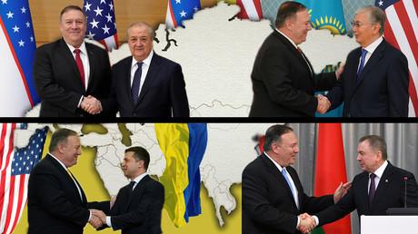 US-Außenminister Mike Pompeo trifft sich mit dem usbekischen (links oben) und weißrussischen (rechts unten) Außenminister sowie dem ukrainischen (links unten) und kasachischen (rechts oben) Staatschef.