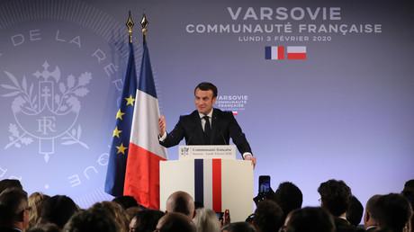 Emmanuel Macron beim Treffen mit Vertretern der französischen Gemeinde in Polen in der französischen Botschaft in Warschau am 3. Februar 2020