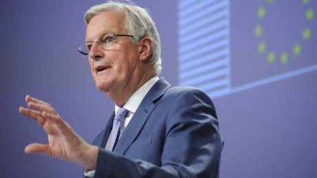 Der Beauftragte der EU-Kommission für die Brexit-Verhandlungen, Michel Barnier, bei der Pressekonferenz zu den Folgeverhandlungen über das weitere Verhältnis zwischen der EU und Großbritannien in Brüssel am 3. Februar 2020