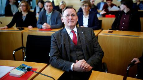 Bodo Ramelow von der Linkspartei vor der Wahl eines neuen Ministerpräsidenten am 5. Februar 2020 im Landtag in Erfurt.