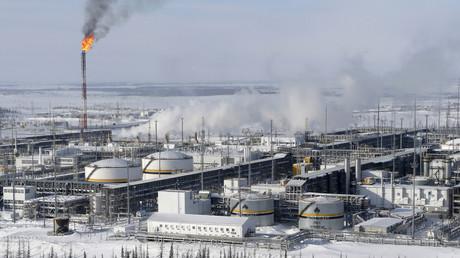 Eine Rosneft-Ölaufbereitungsanlage auf dem Ölfeld Wankorskoje nördlich von Krasnojarsk