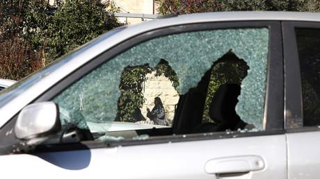 Das Fenster eines Autos, das bei einem mutmaßlichen palästinensischen Schusswechsel beschädigt wurde, Jerusalemer Altstadt am 6. Februar 2020.