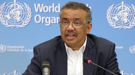 Tedros Adhanom Ghebreyesus, Generaldirektor der Weltgesundheitsorganisation (WHO), bei der Pressekonferenz nach der Sitzung des WHO-Notfallkomitees über das neuartige Corona-Virus in China an dessen Hauptsitz in Genf, 22. Januar 2020.