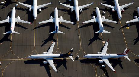 Mehrere mit Flugverbot belegte Boeing 737 MAX auf dem Boeing Field in Seattle, USA