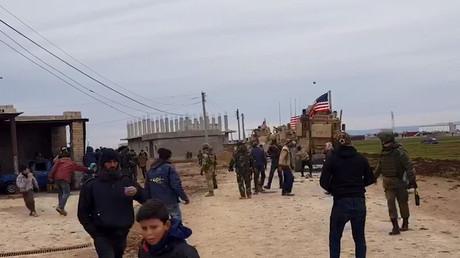 Der Konvoi im Dorf Khirbet Ammo am Mittwoch