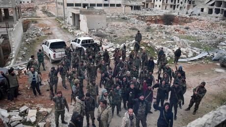 Syrische Soldaten nach der Einnahme des Aleppiner Außenbezirks al-Rashidin 4. (11. Februar 2020)