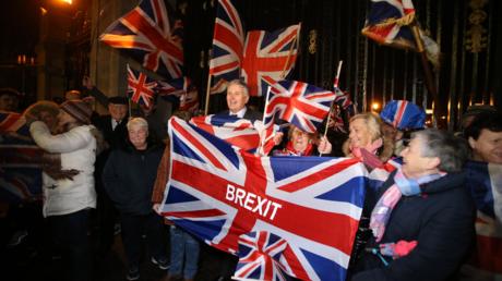 Brexit-Anhänger in Belfast am Abend des 31. Januar 2020