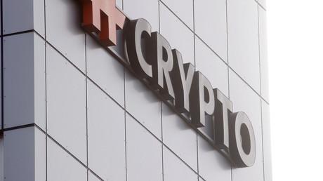 (Archivbild). Das Logo der Crypto AG am Firmensitz in Steinhausen, Schweiz.