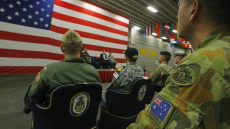 Vorstellung der Militärübung Talisman Saber 2017 an Bord der USS Bonhomme Richard, an der die Streitkräfte Australiens und der USA teilnahmen. (Bild vom 29.06.17)