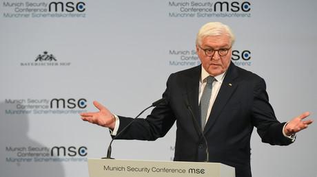 Bundespräsident Frank-Walter-Steinmeier bei seiner Eröffnungsrede auf der 56. Münchner Sicherheitskonferenz am 14. Februar 2020.