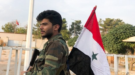 Ein Soldat der syrischen Armee in Aleppo.