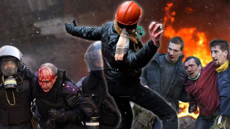 Im Januar und Februar 2014 herrschten in Kiew bürgerkriegsähnliche Zustände. Auf dem Bild: die verletzten Polizisten (links) und Maidan-Kämpfer.