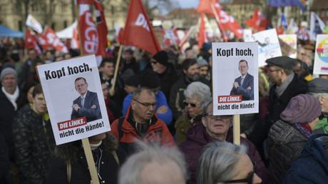 Anhänger von Bodo Ramelow demonstrierten am 12. Februar in Erfurt.