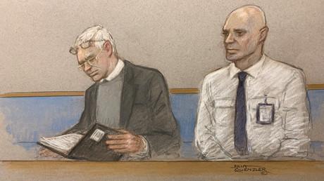 Die von einem Gerichtszeichner festgehaltene Szene zeigt Julian Assange während der Anhörung zum Auslieferungsantrag der USA (24. Februar 2020).