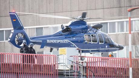 Ein Helikopter der Bundespolizei auf dem Hubschrauberlandeplatz der Medizinischen Hochschule Hannover (MHH): Am 21.02.2020 verließ der Montenegriner Igor K. die Klinik und wurde per Hubschrauber zum nächsten Flughafen gebracht.