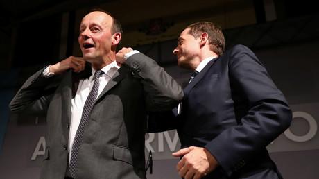 Mike Mohring und Friedrich Merz während des politischen Aschermittwochs in Apolda, Thüringen, 26. Februar 2020.
