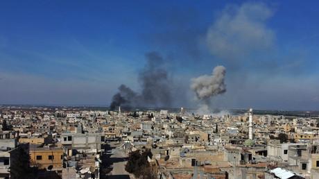 Schwere Angriffe auf Saraqib in der syrischen Provinz Idlib, nachdem die Stadt erneut mithilfe türkischer Truppen und Dschihadisten von der syrischen Armee erobert wurde. (Bild vom 26. Februar)