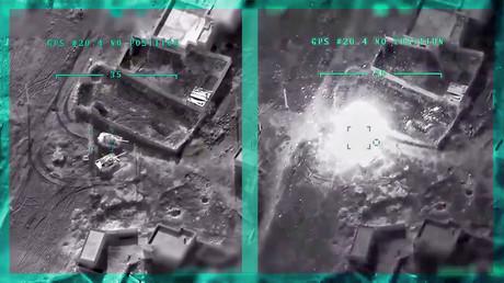 Eine türkische Drohne trifft zwei syrische Panzer. Bildausschnitte aus einem Video, das am 1. März 2020 vom türkischen Verteidigungsministerium veröffentlicht wurde. Bilder zeigen den Luftangriff des türkischen Militärs auf Positionen der syrischen Armee vor und nach dem Einsatz der Kampfdrohne.