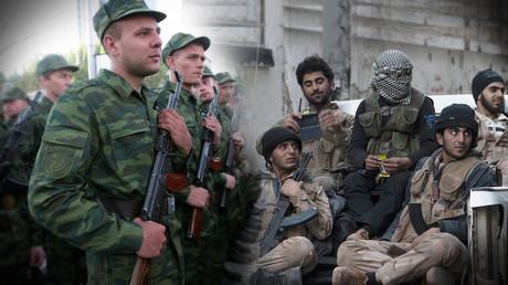 Links im Bild: Die Volkswehr in Donezk bei einer Parade 2015; rechts im Bild: Rebellen in Ostaleppo 2014. Nach ihrer Niederlage im Jahr 2016 gingen sie durch einen humanitären Korridor nach Idlib. Die Rebellen in Idlib werden von der Türkei im Widerspruch zum Sotschi-Memorandum massiv unterstützt.