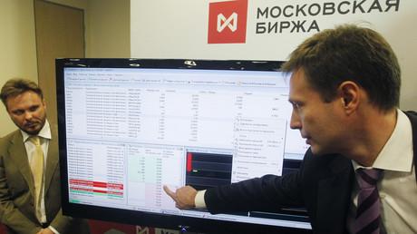 Mitarbeiter der Moskauer Börse (Symbolbild)