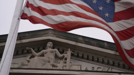 Symbolbild zeigt das Dach des Gebäudes des US-Justizminiseriums in Washington, D.C.