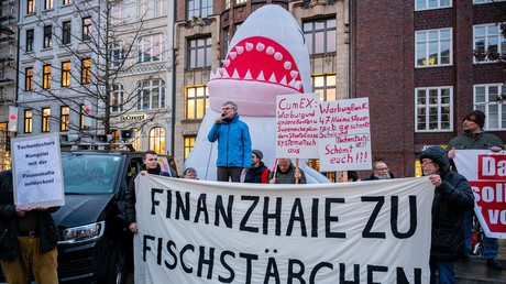 Demonstration in Hamburg für die Aufklärung des Cum-Ex-Skandals, 17.03.2020.