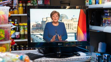 Bundeskanzlerin ANgela Merkel während ihrer Ansprache and die Nation am Mittwoch.