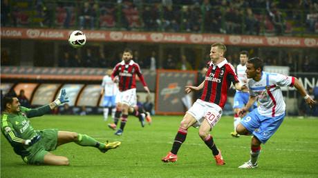 Fußballspiel zwischen AC Mailand und Calcio Catania im San-Siro-Stadion (Bild vom 28.04.13).