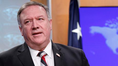 US-Außenminister Mike Pompeo bei einer Pressekonferenz im Außenministerium in Washington, USA am 17. März 2020