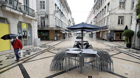 Die Augusta-Straße in der Innenstadt von Lissabon, Portugal, am 20. März 2020.