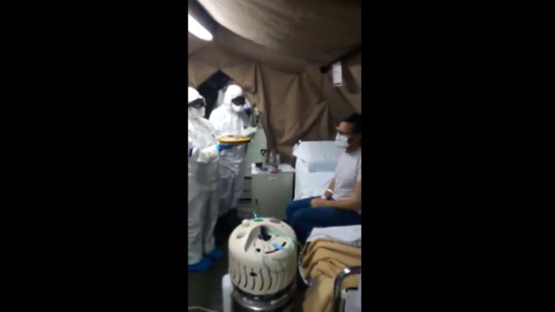 Italien: Hilfskräfte der Armee überraschen Corona-Kranken zum Geburtstag im Feldkrankenhaus