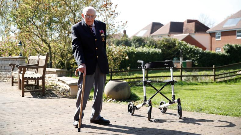 99-jähriger an Rollator gefesselter Weltkriegs-Veteran sammelt Millionenspende für Medizinpersonal
