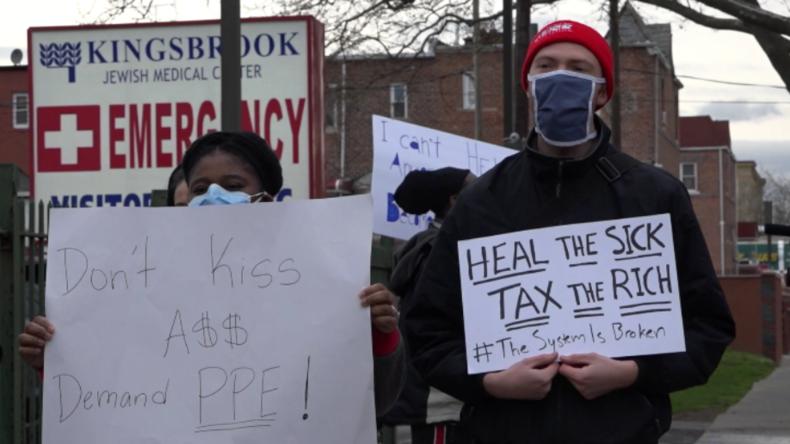 """Pfleger-Protest: """"Reiche Krankenhausmanager sitzen in ihren Villen und wir sterben hier ohne Masken"""""""
